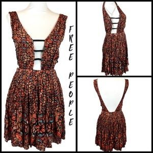 Free People Red Hand Painted Open Back Dress Sz XS